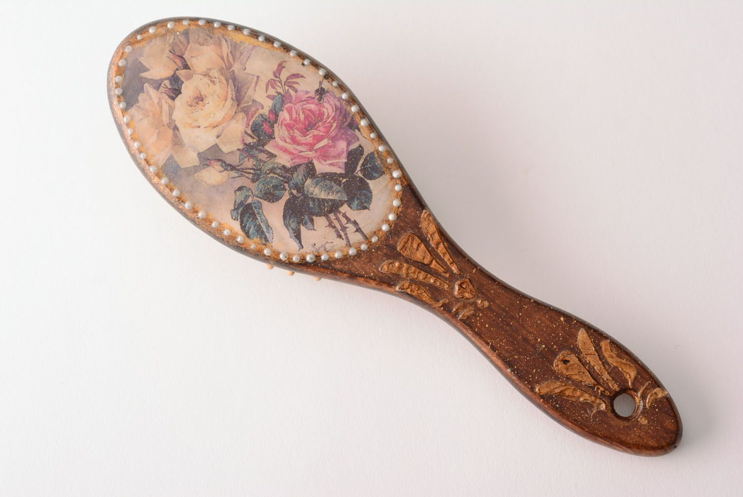 Handmade wooden hair brush stylish decoupage hair brush unusual brush for hair photo 2