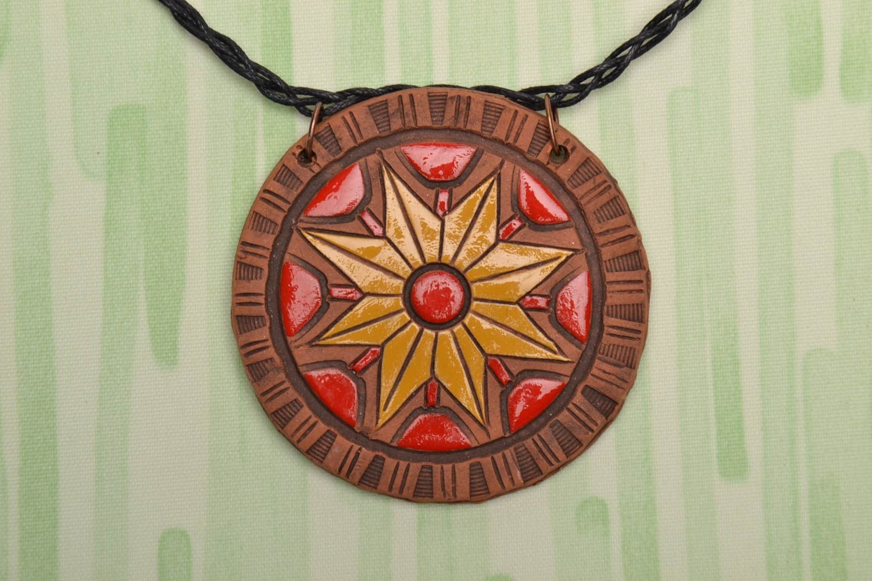Керамический кулон с росписью этнический стиль  фото 1