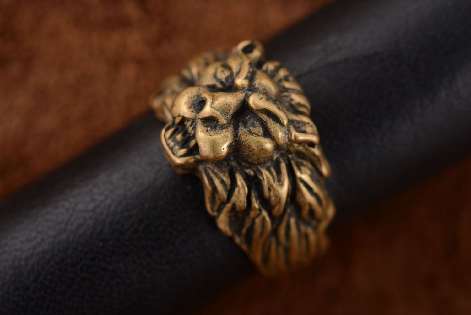 Bronze ring Scandinavian Lion photo 2