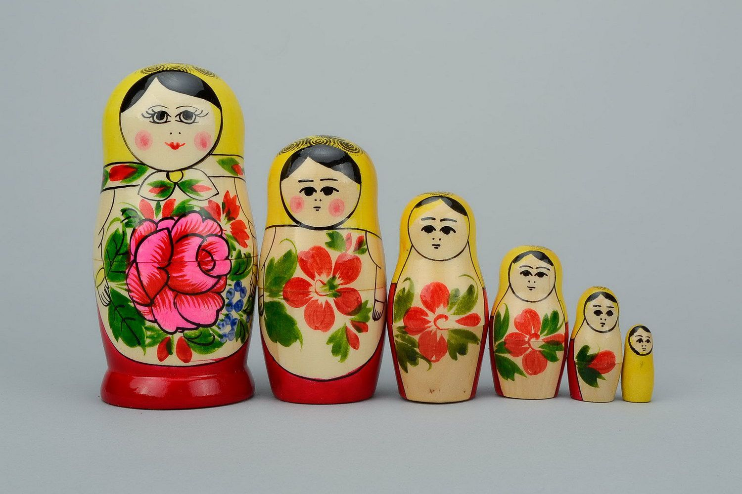 Painted wooden nesting doll of average size photo 3