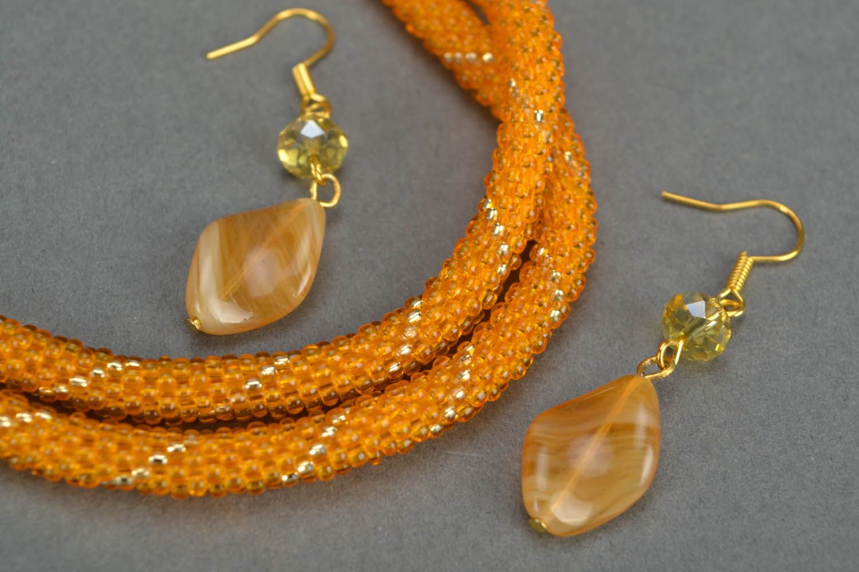 Homemade beaded jewelry set Golden Dust photo 5
