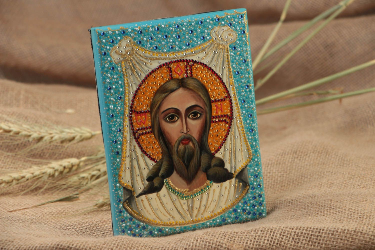 Handmade orthodox icon painted with gouache on wooden basis Christ of Edessa  photo 1