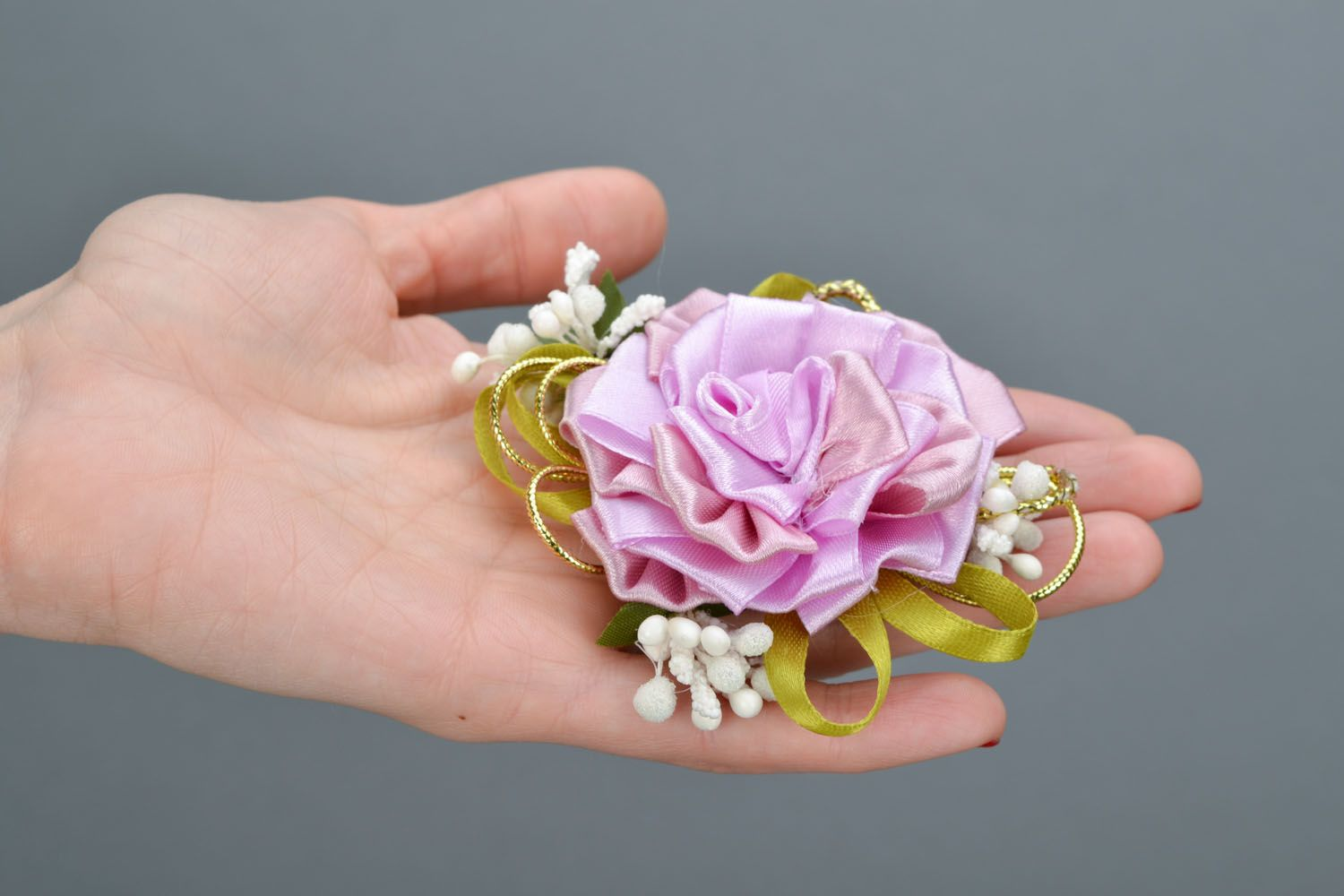 Gentle brooch-hair clip with ribbons Tea Rose photo 2