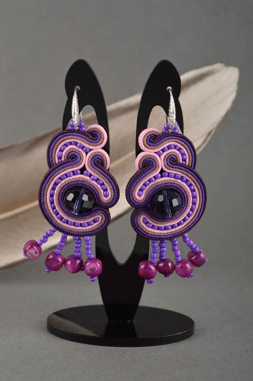 Large handmade soutache earrings textile earrings beaded earrings gift ideas photo 1