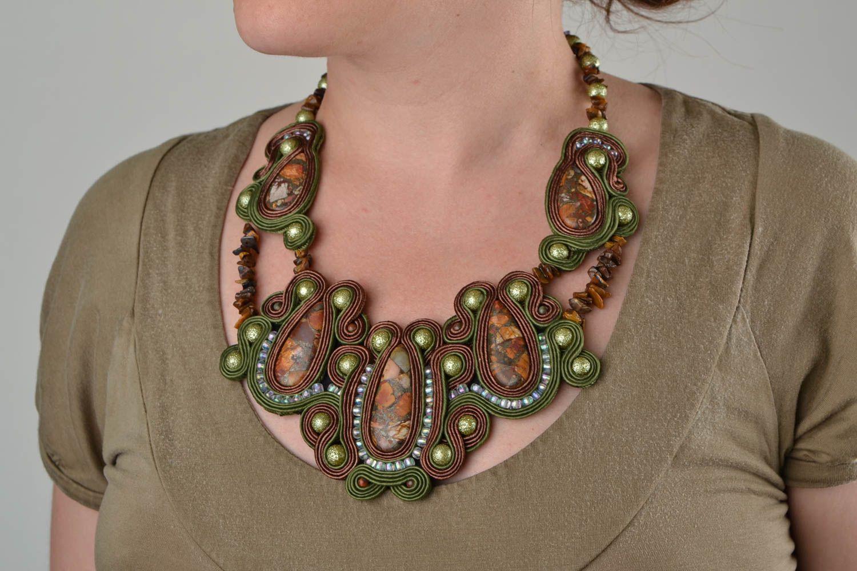 Handmade soutache necklace with natural jasper stone madeheart com