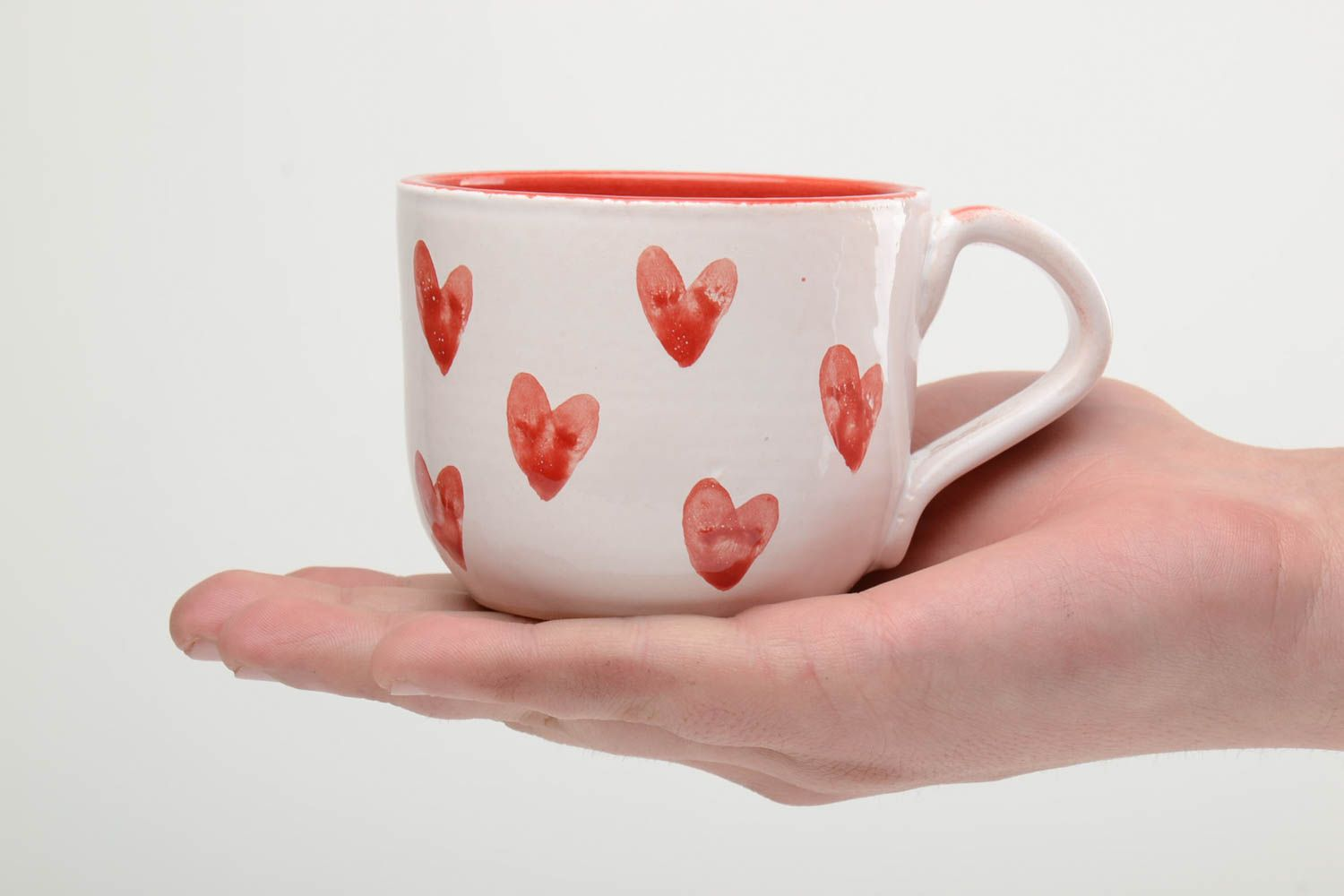 cups,glass Handmade ceramic cup painted with glaze and enamel 400 ml - MADEheart.com