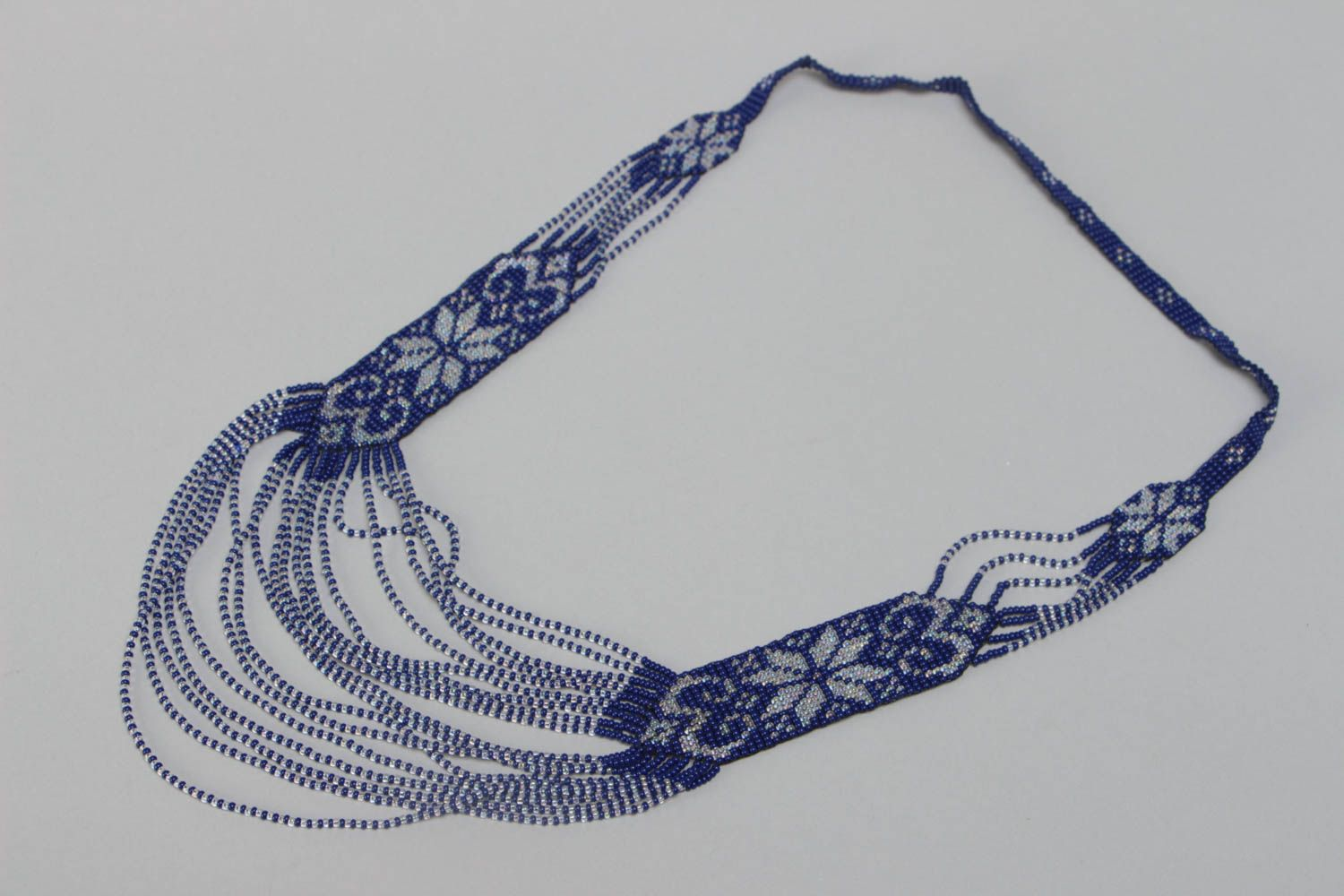 Handmade ethnic long beaded necklace with ornament in blue color for women photo 2