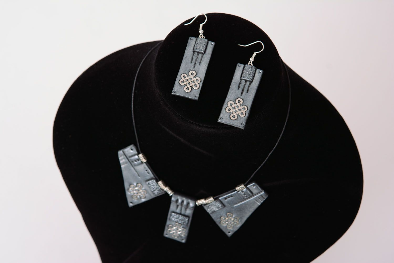 Polymer clay jewelry set photo 2