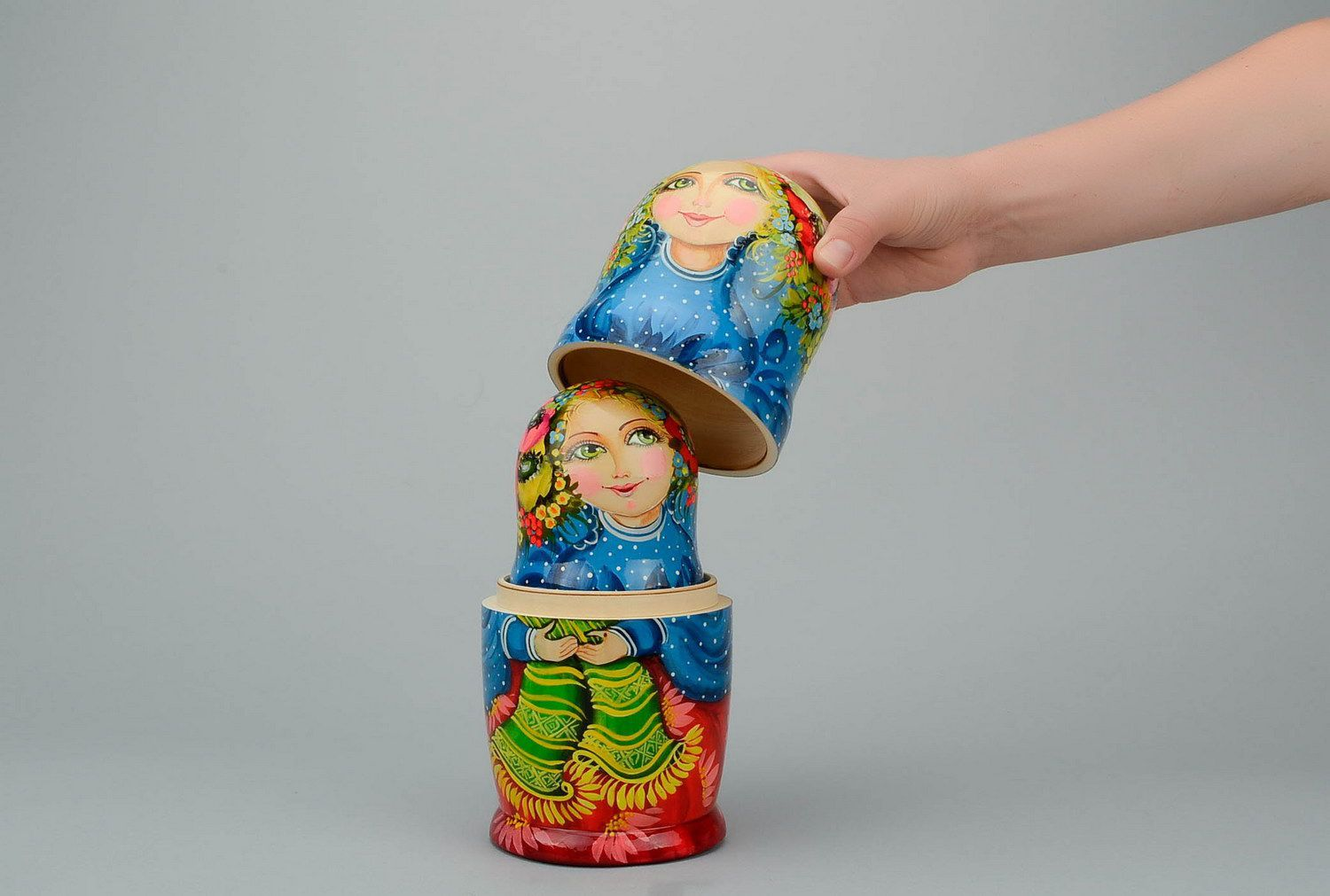 Wooden patterned matryoshka doll Poppy flower photo 4