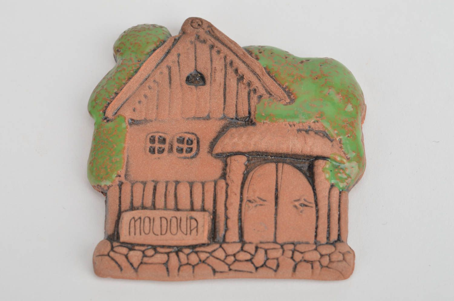 Unusual handmade painted ceramic fridge magnet in ethnic style Country House photo 2