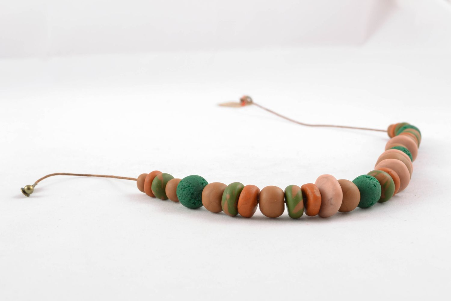 Unusual polymer clay bead necklace photo 4