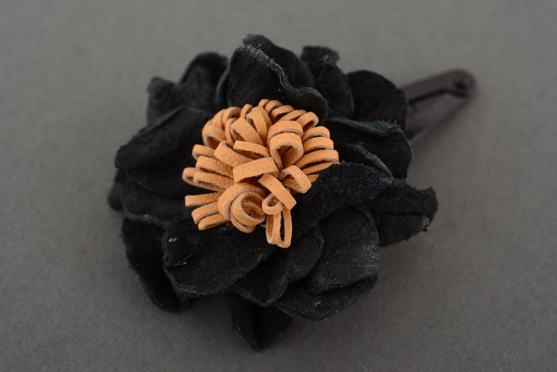 Leather hair clip Black Poppy photo 3