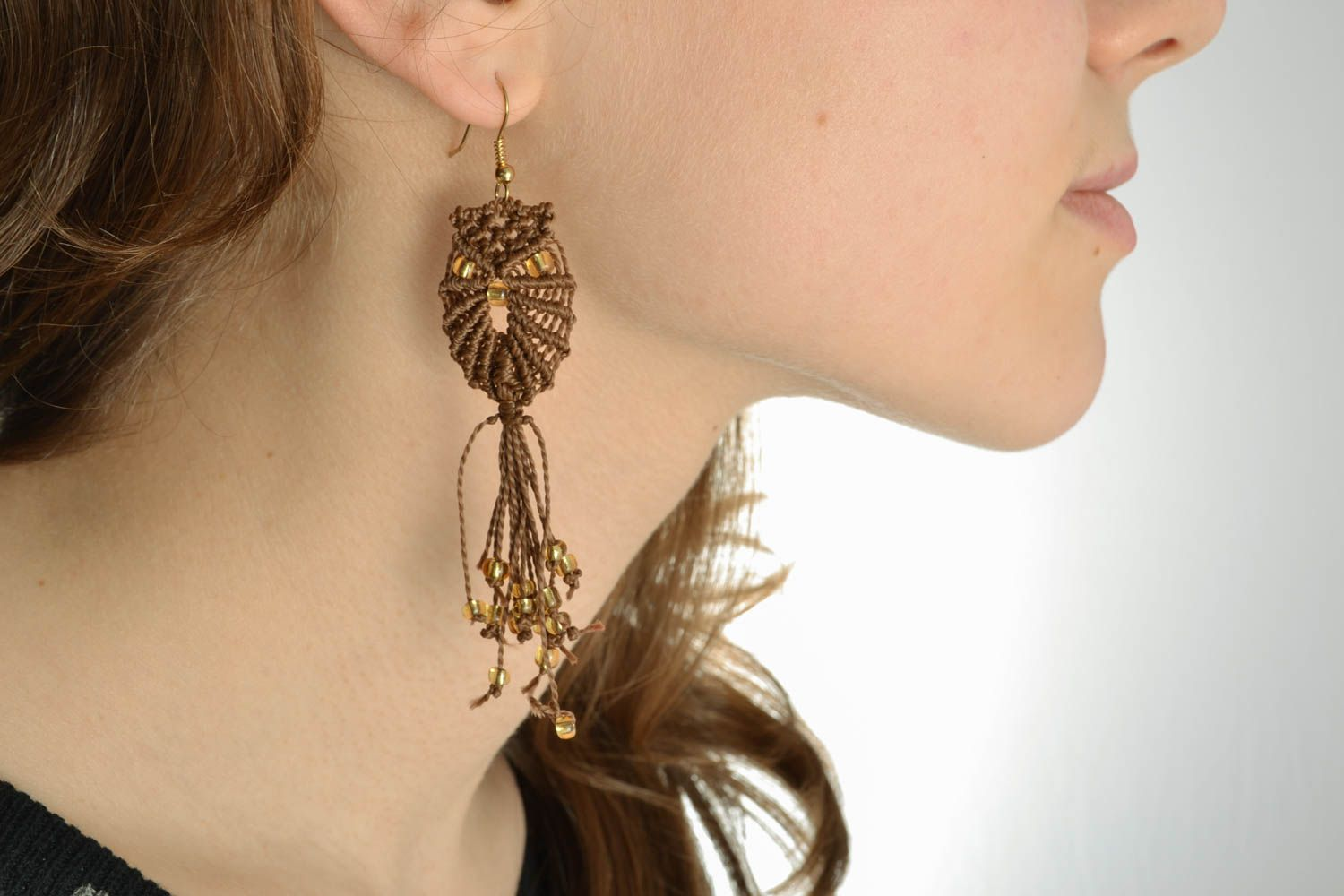Long macrame earrings photo 5
