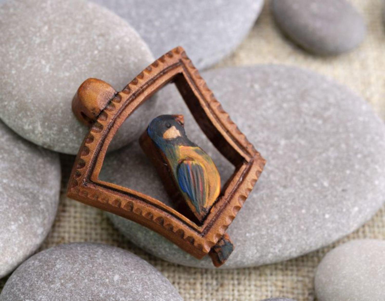 Pendant made of wood Bird photo 1