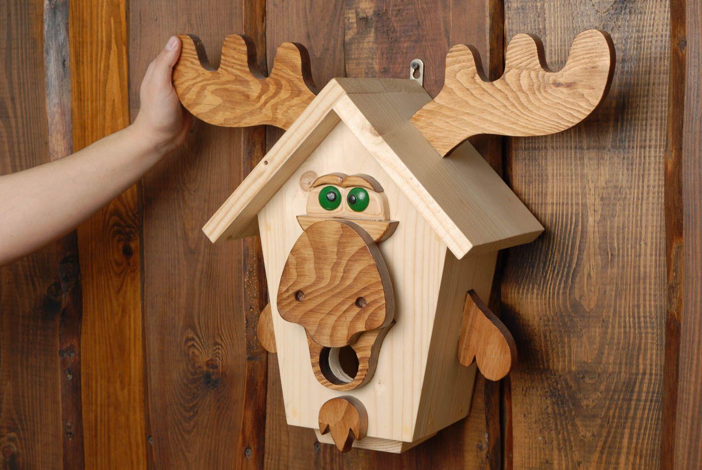 Nichoir En Bois Pour Oiseaux : niches pour animaux Nichoir en bois pour oiseaux en forme d'?lan fait