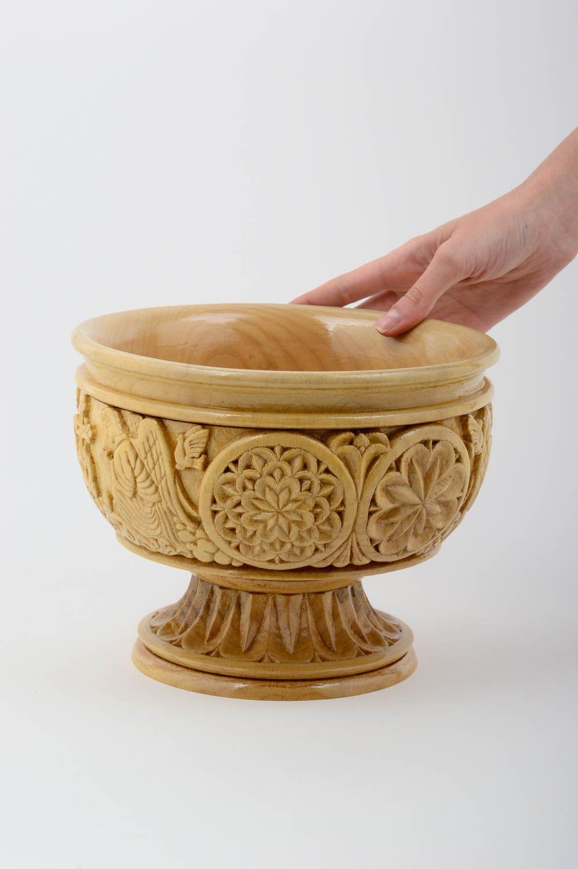 madeheart deko vase handmade geschnitzt wohnzimmer deko holz vase tisch deko hell exklusiv. Black Bedroom Furniture Sets. Home Design Ideas