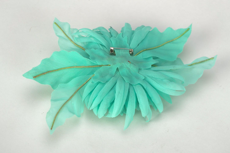 Handmade chiffon brooch Turquoise Aster photo 5