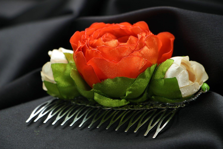 Satin hair clip with flowers photo 2