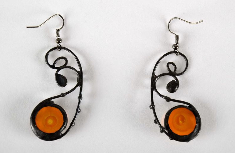 Beautiful long glass earrings photo 1