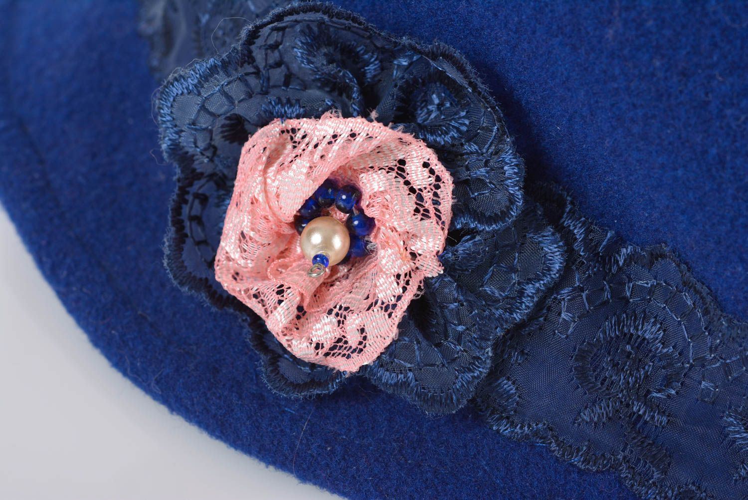 headwear Unusual women's hat with blue satin lining with lace handmade headware - MADEheart.com