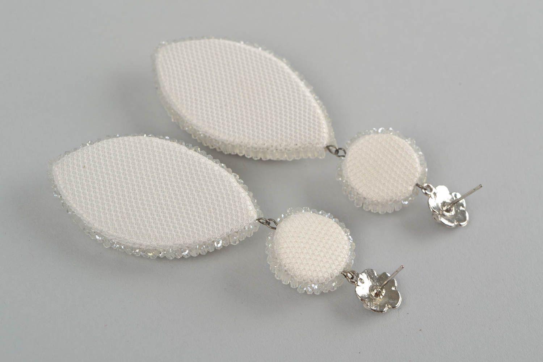 beaded Earrings Beautiful white stylish beaded earrings handmade massive festive jewelry - MADEheart.com