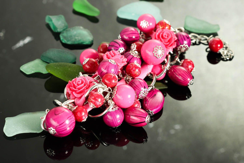 Браслет ручной работы браслет из бусин женский браслет из керамики и пластика фото 2