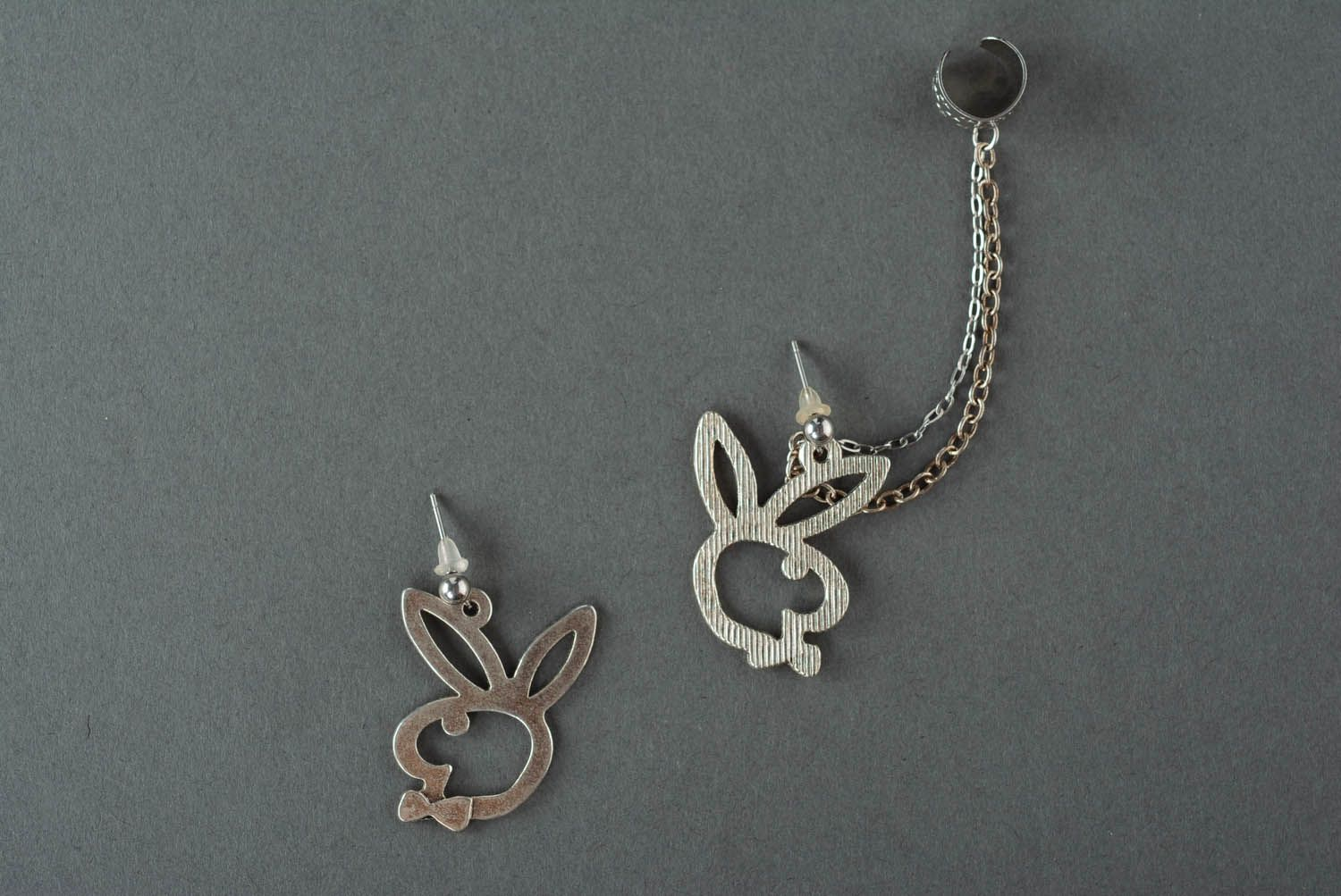 Cuff earrings with a chain Bunny and Butterfly photo 2