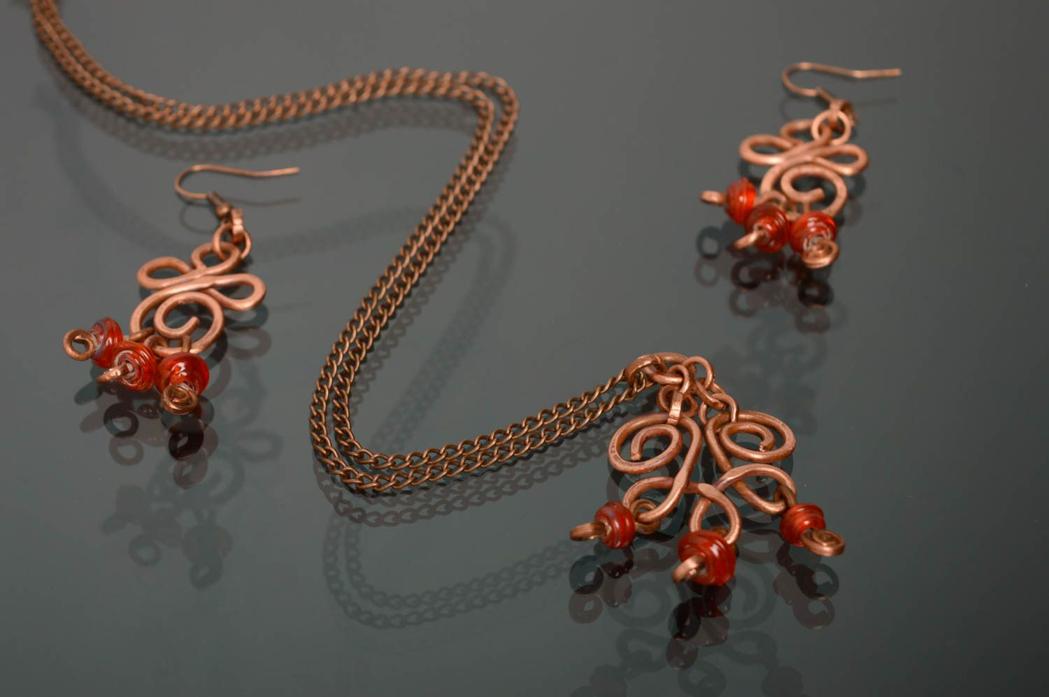 Wire wrap and lampwork jewelry set Autumn Berries photo 3