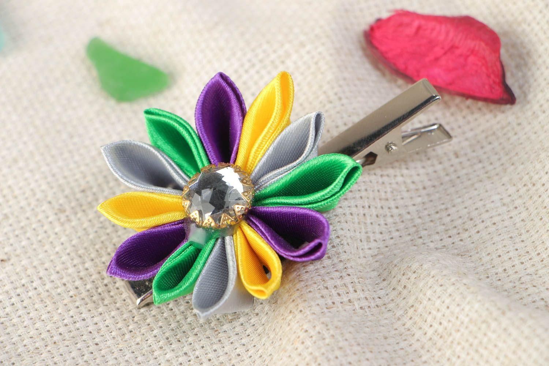 Handmade hair clip with colorful satin ribbon kanzashi flower with rhinestone photo 1