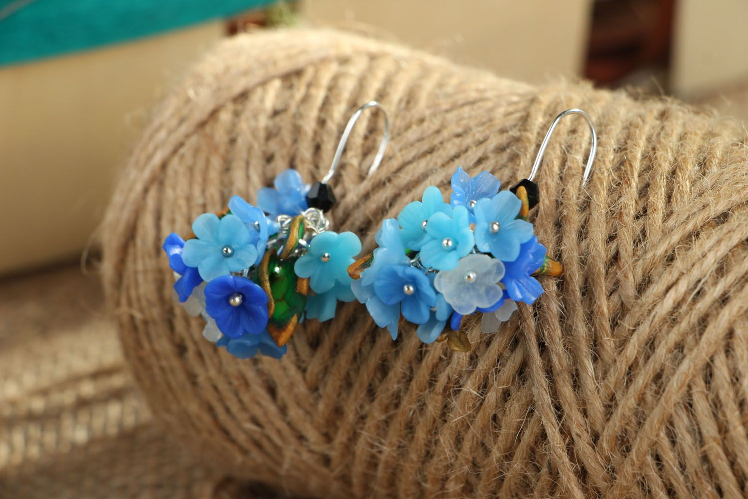 Bright plastic earrings Forget-Me-Nots photo 3