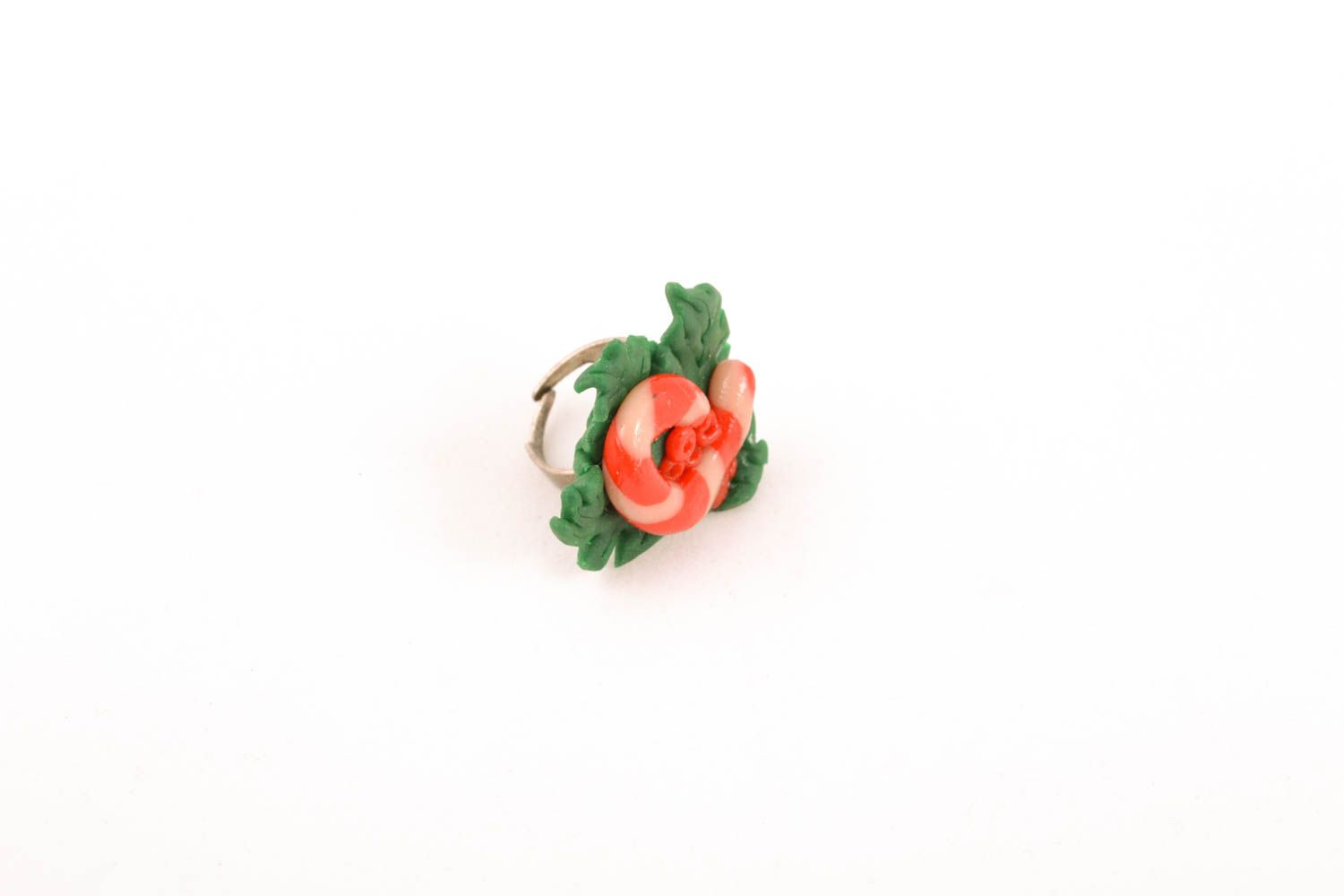 Unusual polymer clay ring photo 3