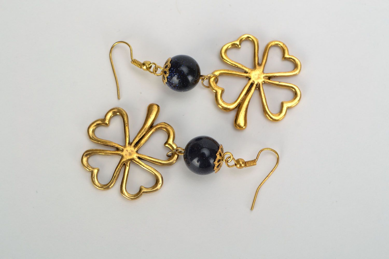 Earrings with aventurine Clover photo 3