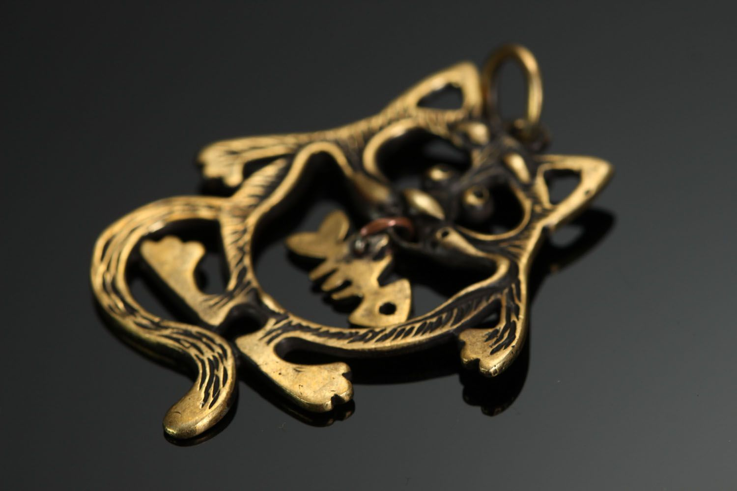 Bronze pendant Cat with a Fish photo 2