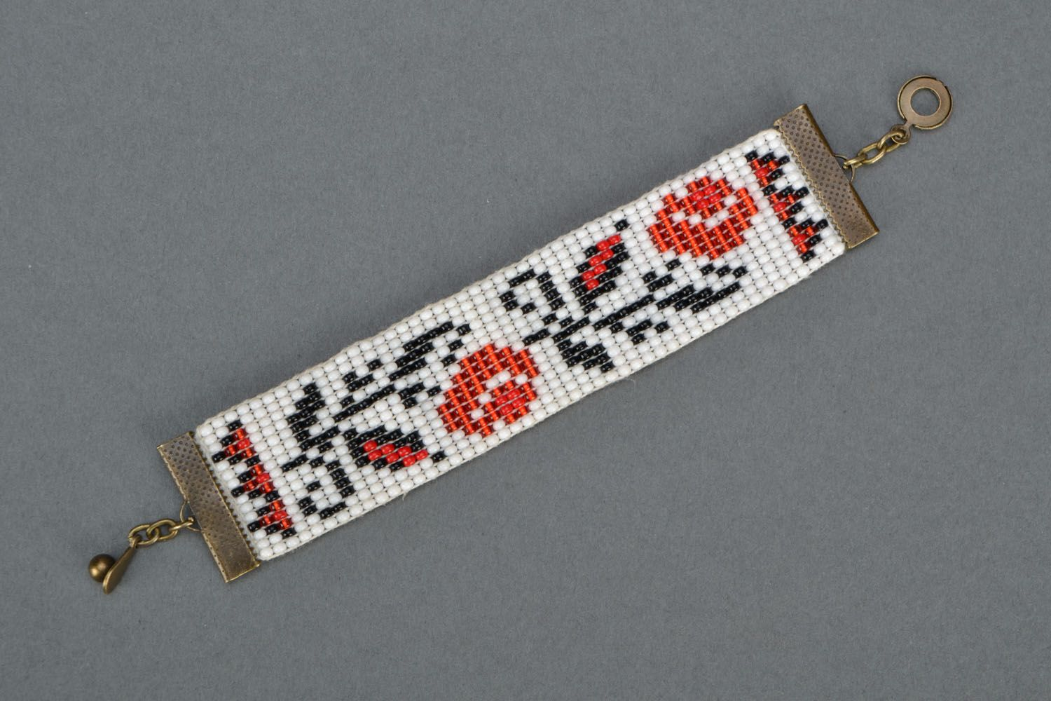 Wide beaded bracelet with ethnic pattern photo 3