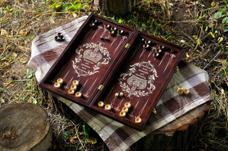 Handmade wooden backgammon photo 1