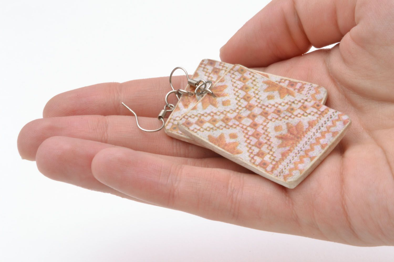 Earrings made of polymer clay Pattern photo 5