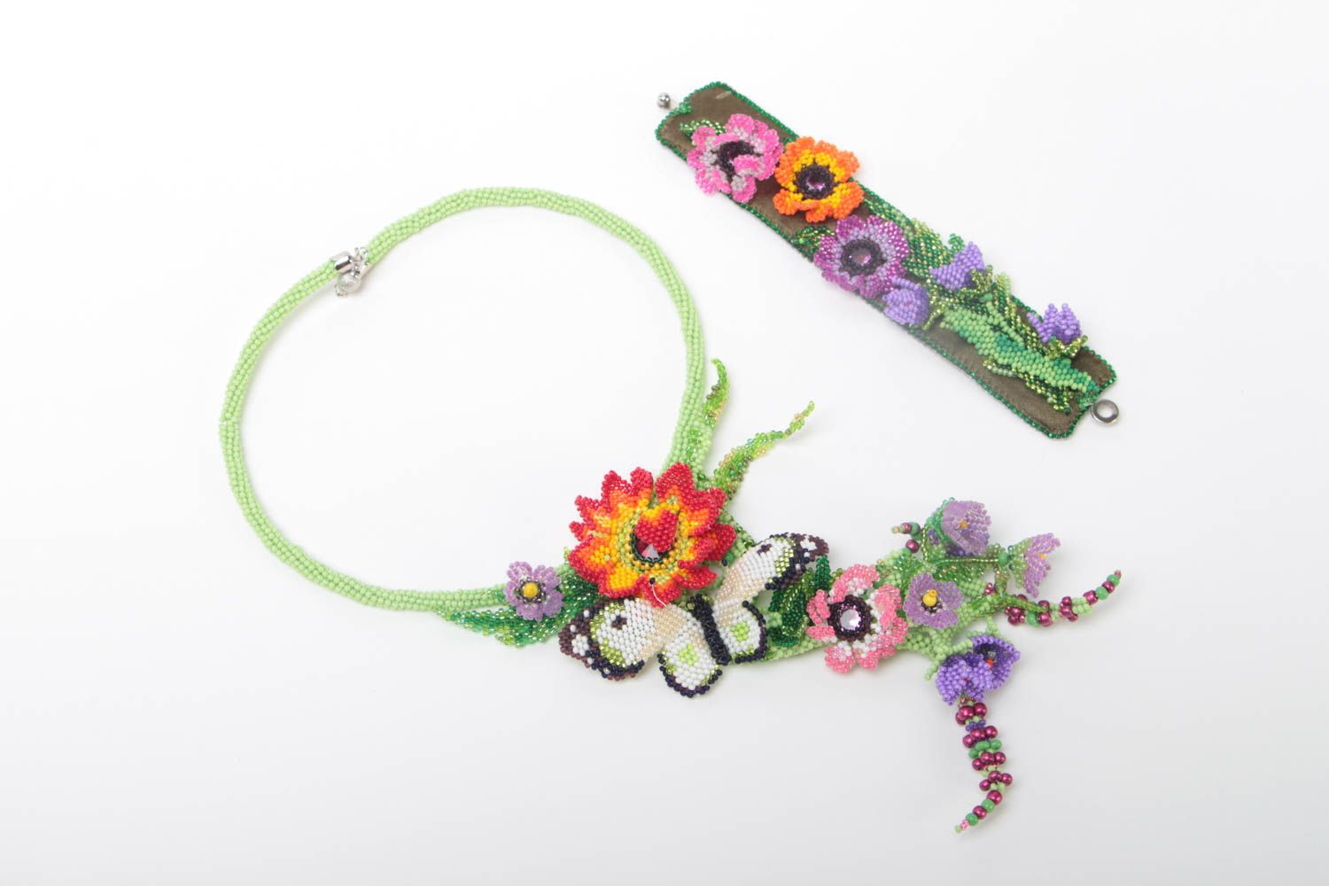 Set of handmade jewelry beaded necklace and bracelet massive flower accessories photo 2