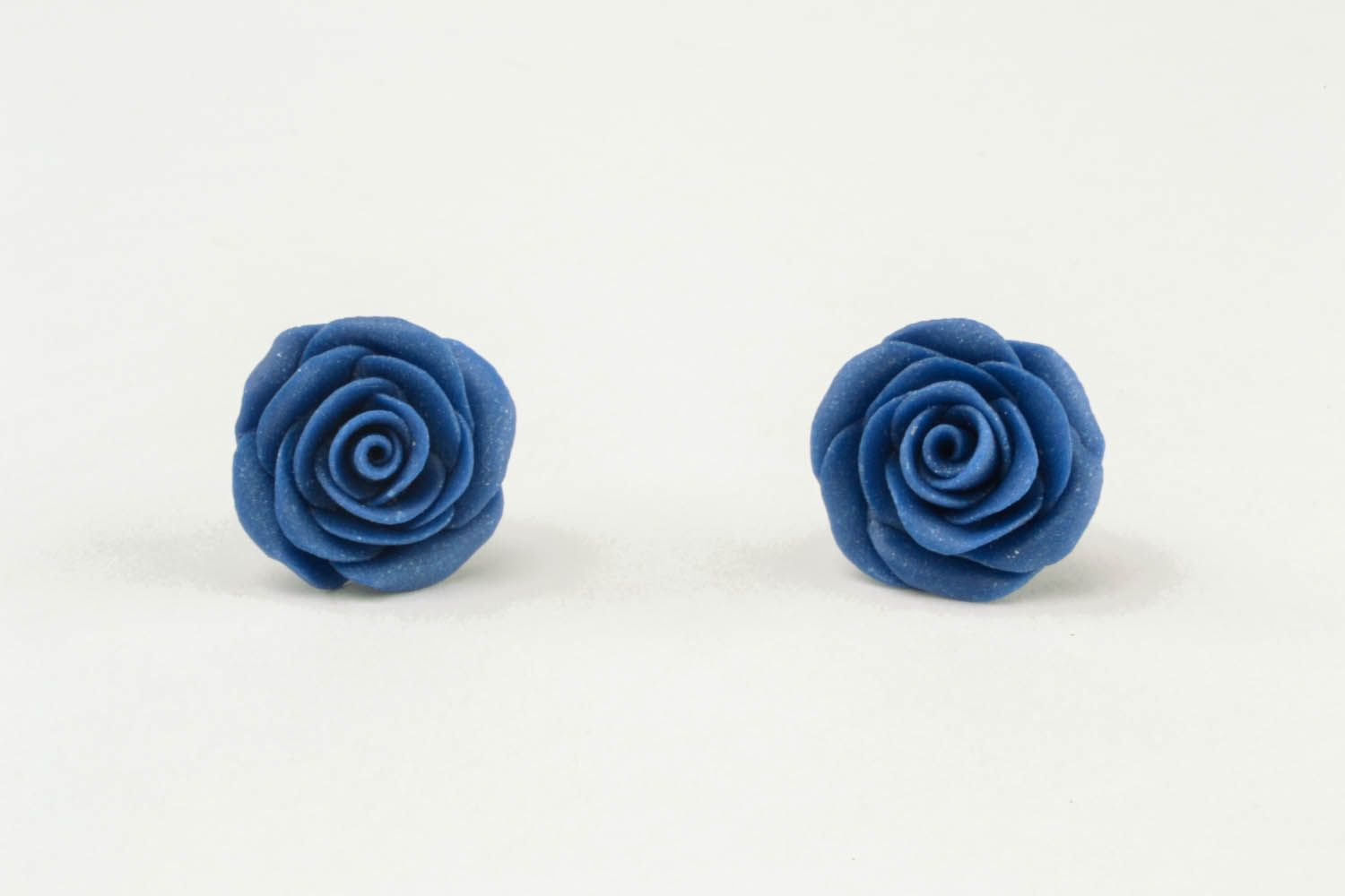 Polymer clay earrings Blue Roses photo 3