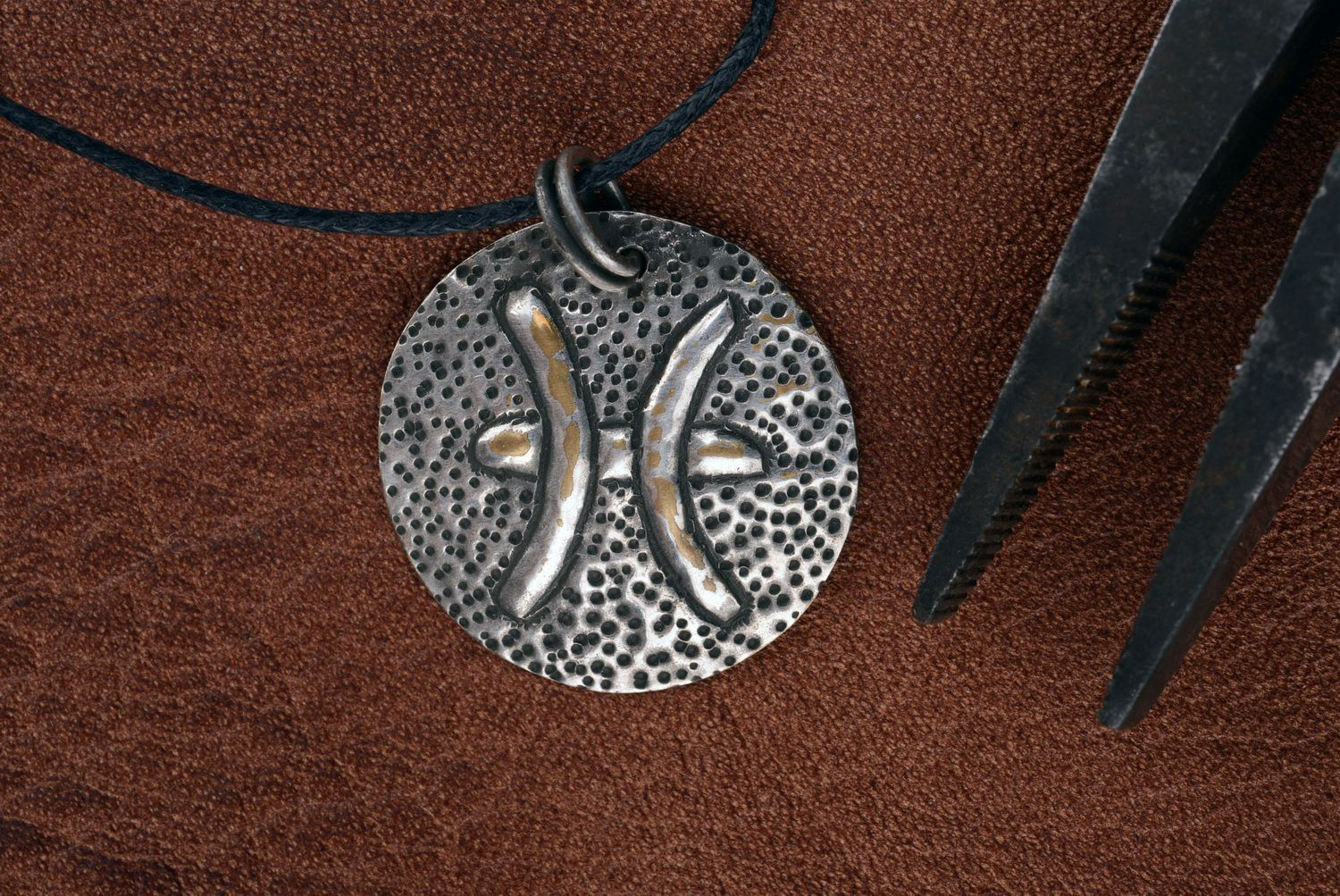 Pendant made of brass with silvering Pisces photo 3
