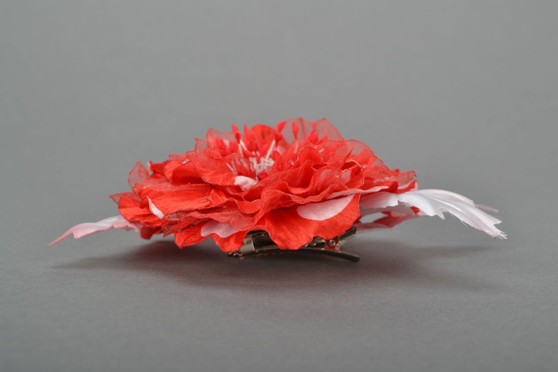 Handmade brooch Scarlet Flower photo 4