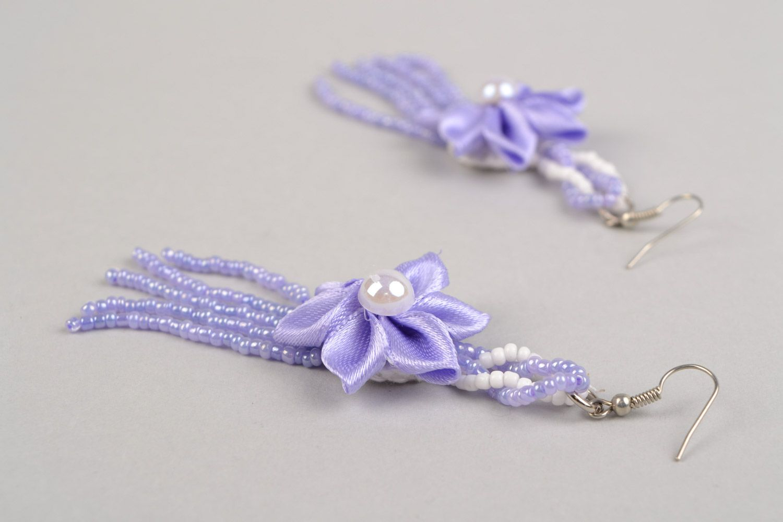 Braided handmade long purple earrings made of satin with flower photo 3