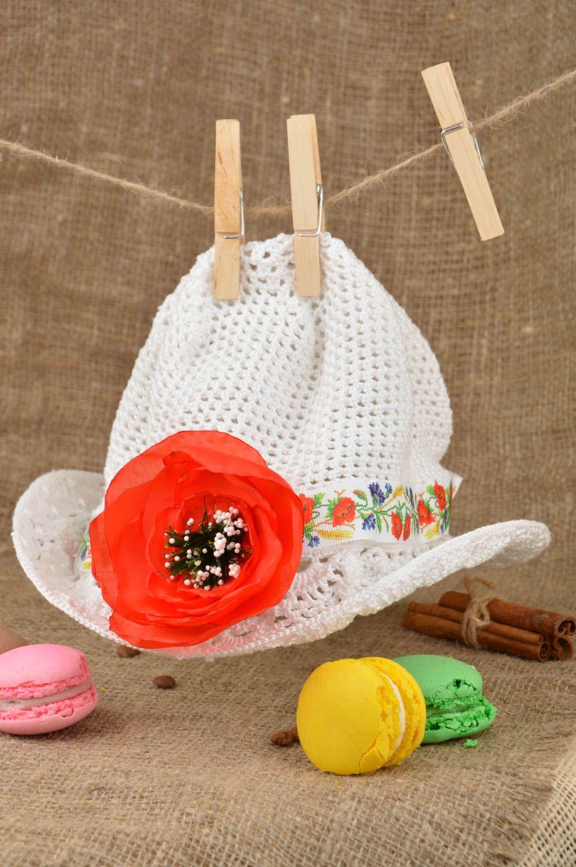 Designer unique girl crocheted hat handmade cotton headdress present for kids photo 5