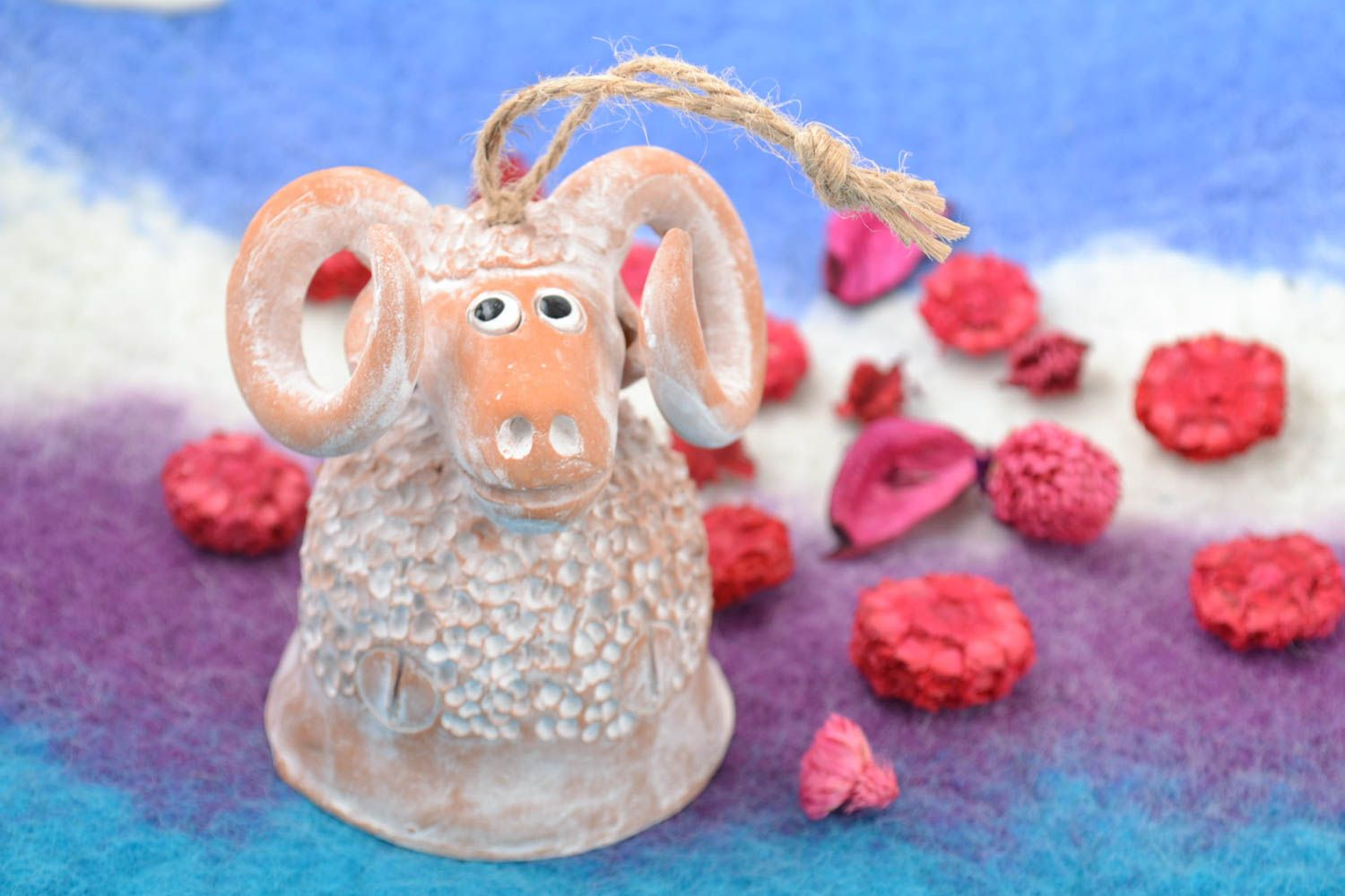 Handmade figured ceramic bell in the shape of small painted white lamb photo 1