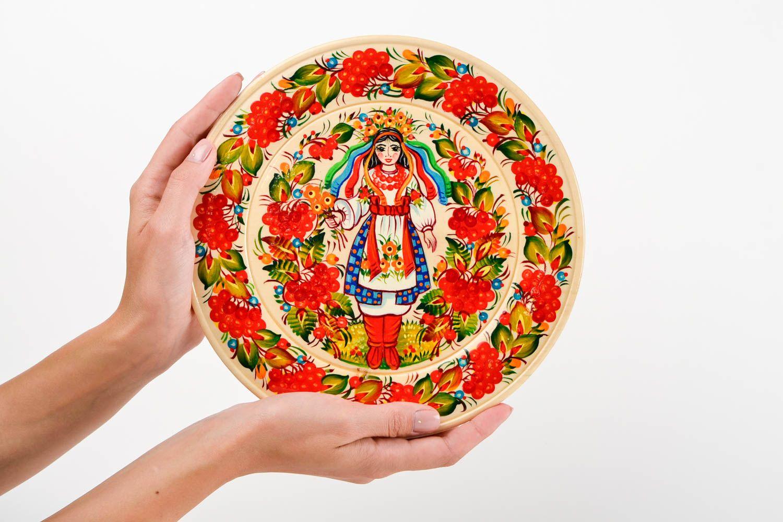 Декоративная посуда ручной работы деревянная тарелка настенный декор с росписью фото 2