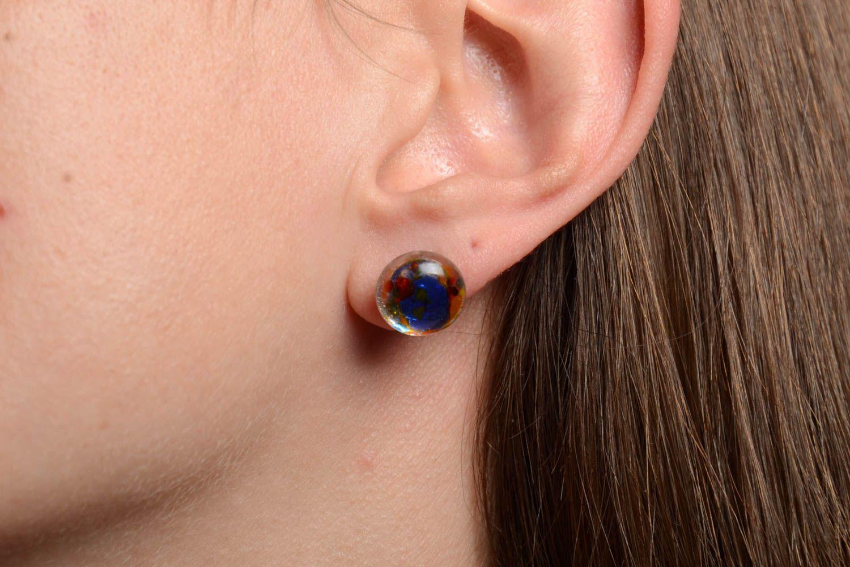 boucles d'oreilles puces Boucles d'oreilles clous rondes faites main petites technique de fusing - MADEheart.com