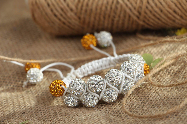 Плетеный браслет с бусинами  фото 6