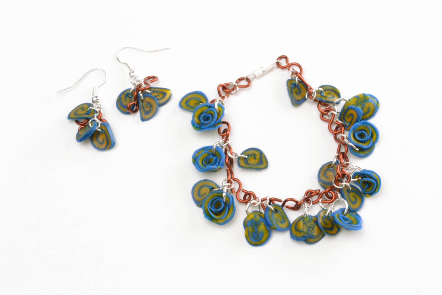 Polymer clay earrings and bracelet photo 4