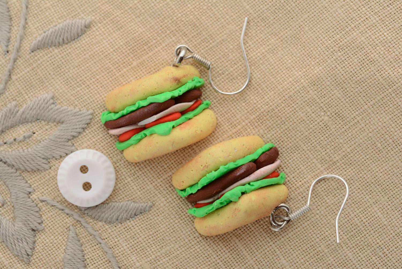 Homemade plastic earrings Sandwiches photo 3