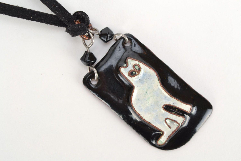 Copper pendant White Cat photo 4