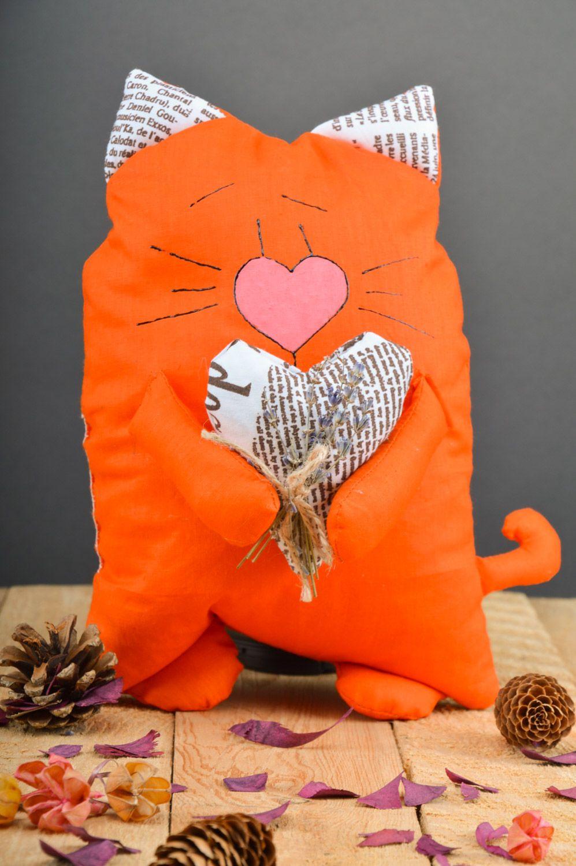 Handmade orange soft pillow with herbs inside Cat photo 5